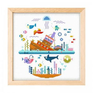 Wholesale Cartoon Fishes Pattern  DIY Cross Stitch Kits For Decor    15059