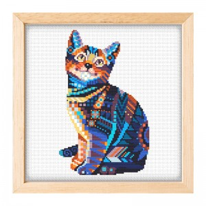 New novelty DIY handmade embroidery diy kit fabric material make cross stitch cat pattern cross stitch kits 15062