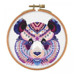Panda home decoration use canvas material sewing craft art work material cross stitch  15104