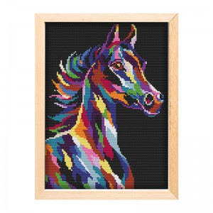 Wholesale color horse pattern sewing needlework craft cross stitch set plastic canvas cross stitch15182