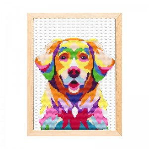 High quality wholesale canvas DIY handmade colorful dog cross stitch hand embroidery 15199