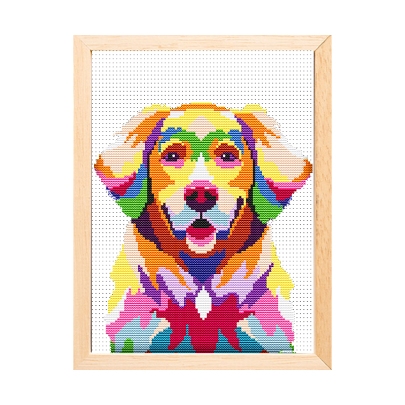 High quality wholesale canvas DIY handmade colorful dog cross stitch hand embroidery 15199 Featured Image