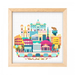 11 Count Cross Stitch Needlework Handmade Craft DIY Architecture Patterns Printed Cross Stitch Embroidery  15022