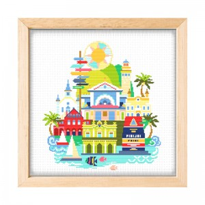 Wholesale Beginner Kits Home Decoration Fabric Cross-stitch Craft DIY Kits Architecture Patterns Embroidery Kits 15049