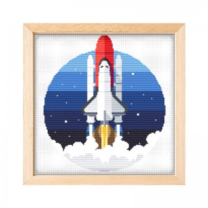 11 Count Cross Stitch Needlework Handmade Craft DIY Cartoon Rocket Patterns Printed Cross Stitch Embroidery  15058