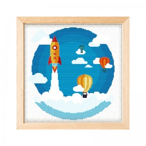 Wholesale Beginner Kits Home Decoration Fabric Cross-stitch Craft DIY Kits Cartoon rocket and balloons Patterns Embroidery Kits 15061