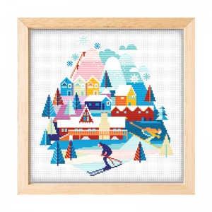 Wholesale Beginner Kits Home Decoration Fabric Cross-stitch Craft DIY Kits Village snow scene Patterns Embroidery Kits   15089