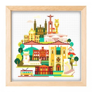 Wholesale Beginner Kits Home Decoration Fabric Cross-stitch Craft DIY Kits Building Patterns Embroidery Kits  15091