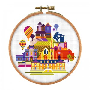 Wholesale Beginner Kits Home Decoration Fabric Cross-stitch Craft DIY Kits Building Patterns Embroidery Kits 15137