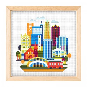 Wholesale Beginner Kits Home Decoration Fabric Cross-stitch Craft DIY Kits Architecture Patterns Embroidery Kits       15090
