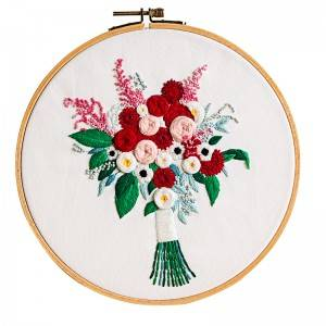Direct Sale DIY Craft Plants Embroidery Set Plastic Wooden Hoop Needlework Embroidery Kits For Home Decor511217