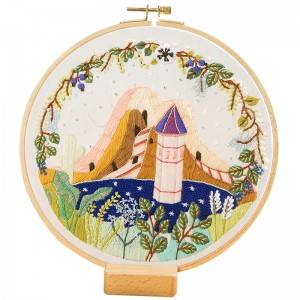 Direct Sale DIY Craft Plants Embroidery Set Plastic Wooden Hoop Needlework Embroidery Kits For Home Decor 511201