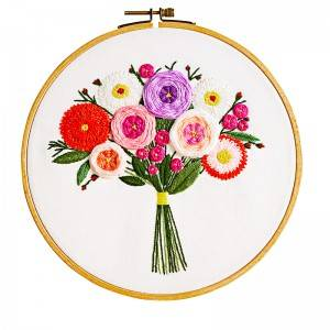 Direct Sale DIY Craft Plants Embroidery Set Plastic Wooden Hoop Needlework Embroidery Kits For Home Decor511212