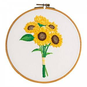 Direct Sale DIY Craft Plants Embroidery Set Plastic Wooden Hoop Needlework Embroidery Kits For Home Decor511216