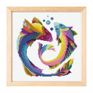 Hot sale Pisces pattern home decoration cross stitch needlework cross stitch set 15003