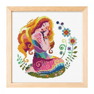Hot sale Virgo pattern home decoration cross stitch needlework cross stitch set. 15010
