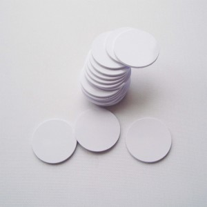 Custom Waterproof hard PVC PET RFID sticker on metal NFC coin Tag