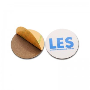 Custom hard PVC PET RFID sticker on metal ntag213 NFC coin Tag
