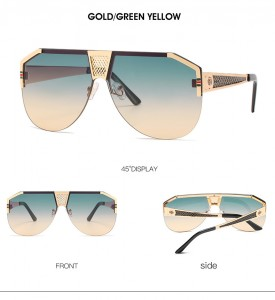 DLL05866 Oversize Aviator Metal Frame Shades Luxury Designer Sunglasses