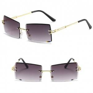 DLL9031 Unisex Fashion Square Rimless Sunglasses