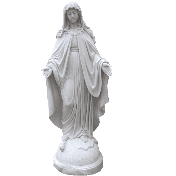 100% hand carved religious  sculpture life size natural white marble Virgin Mary statue on sale