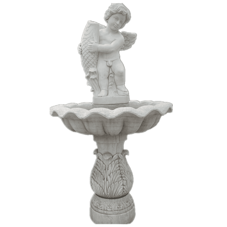 Outdoor garden decoration white stone marble water fountain with statues