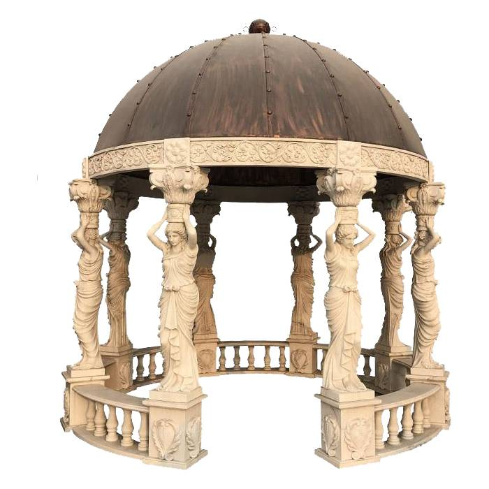 Chinese Manufacture  Products Outdoor Stone Statue Whole Garden Column Marble Gazebo With Roof