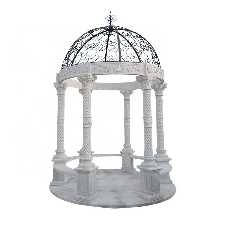 Wholesale European style outdoor garden decoration  marble gazebo with metal dome