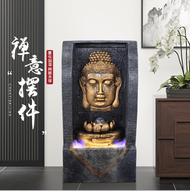 outdoor garden small indoor home fengshui waterfall wall mini buddha fountain