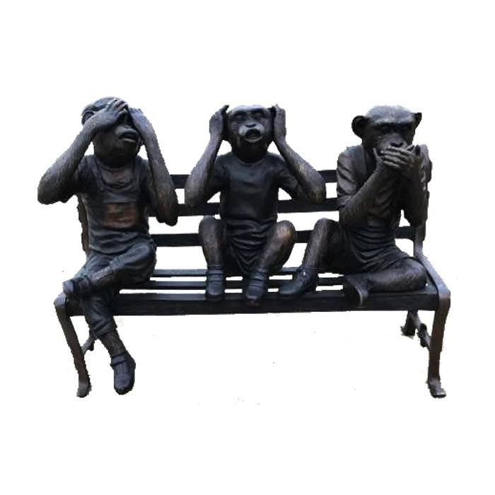 Animal statue park decoration modern  bronze and brass  monkeys sitting on bench statue for sale