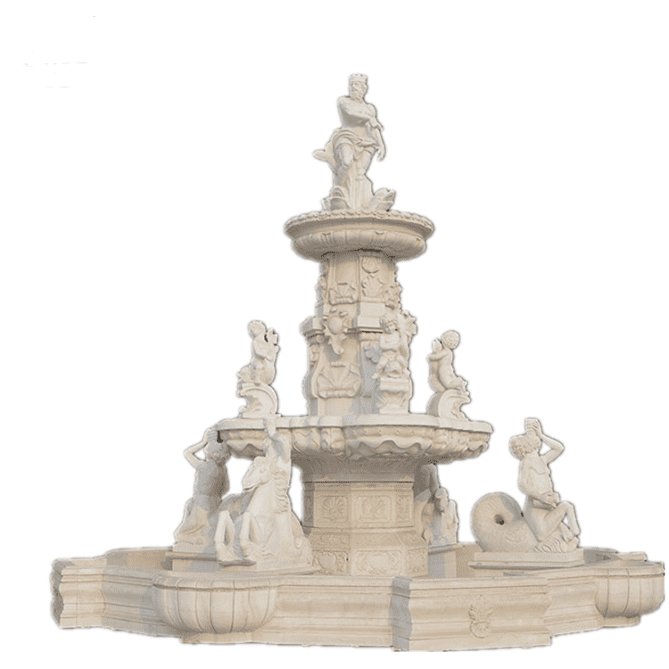 Bigger outdoor white stone marble water fountain with statues