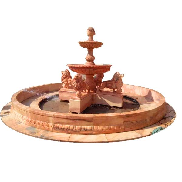 Classical Design Garden Decor Stone Horse And Lion Red  Marble Fountain For Sale