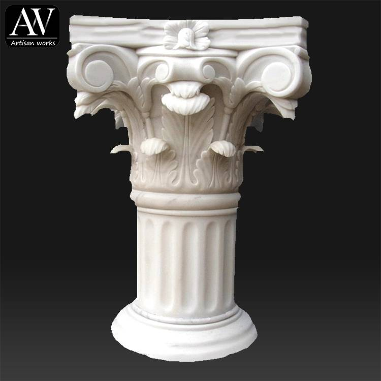 Customized interior house decorative pillars caps designs marble columns for sale