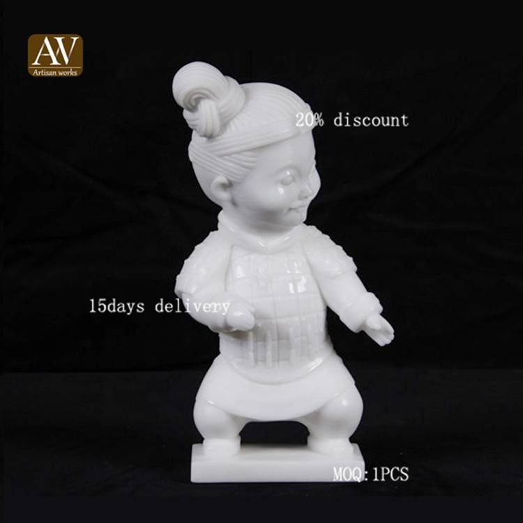 Hot selling home cute terracotta warriors natural marble sculpture