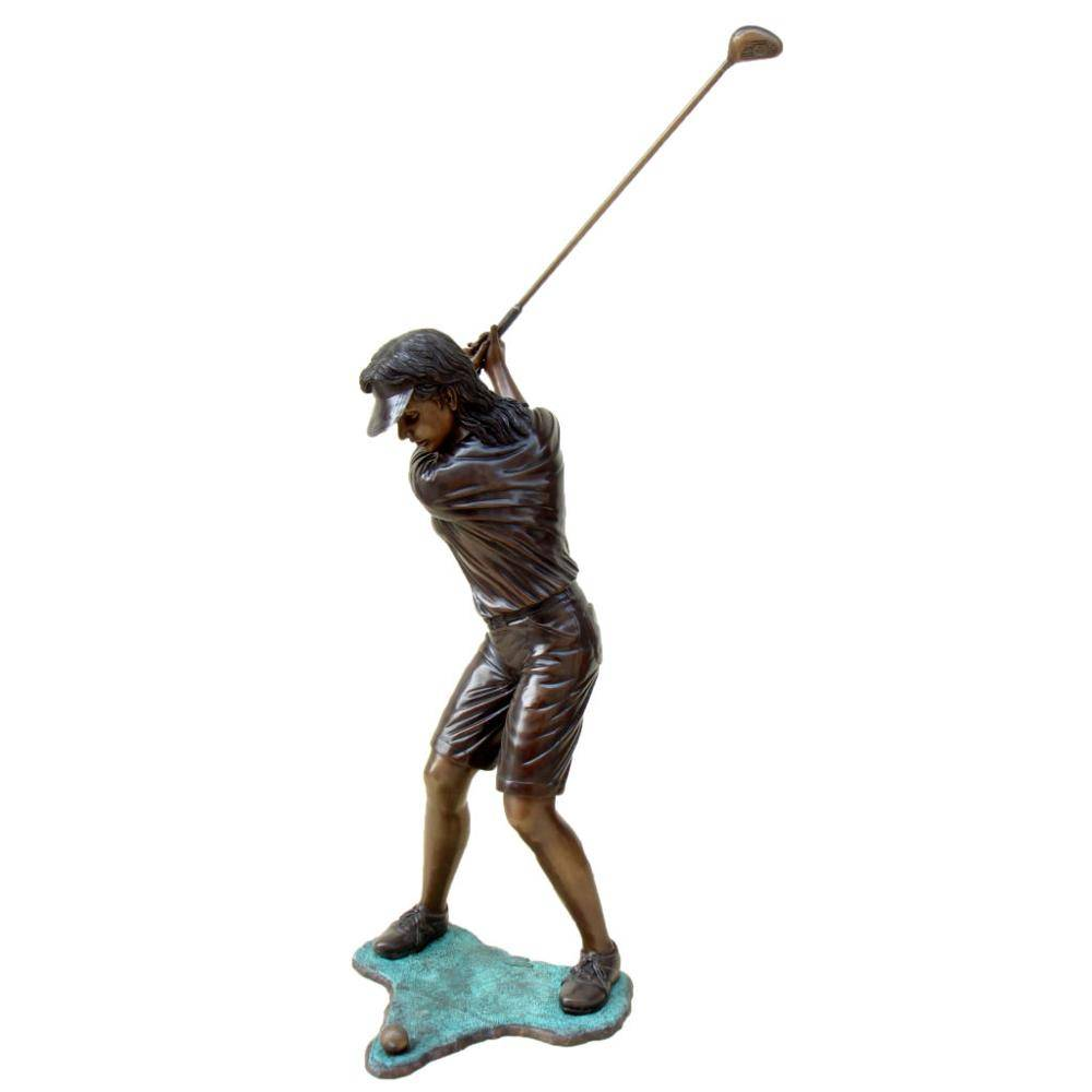 Outdoor park decoration metal  figure sculpture life size brass and bronze golfer statue for sale