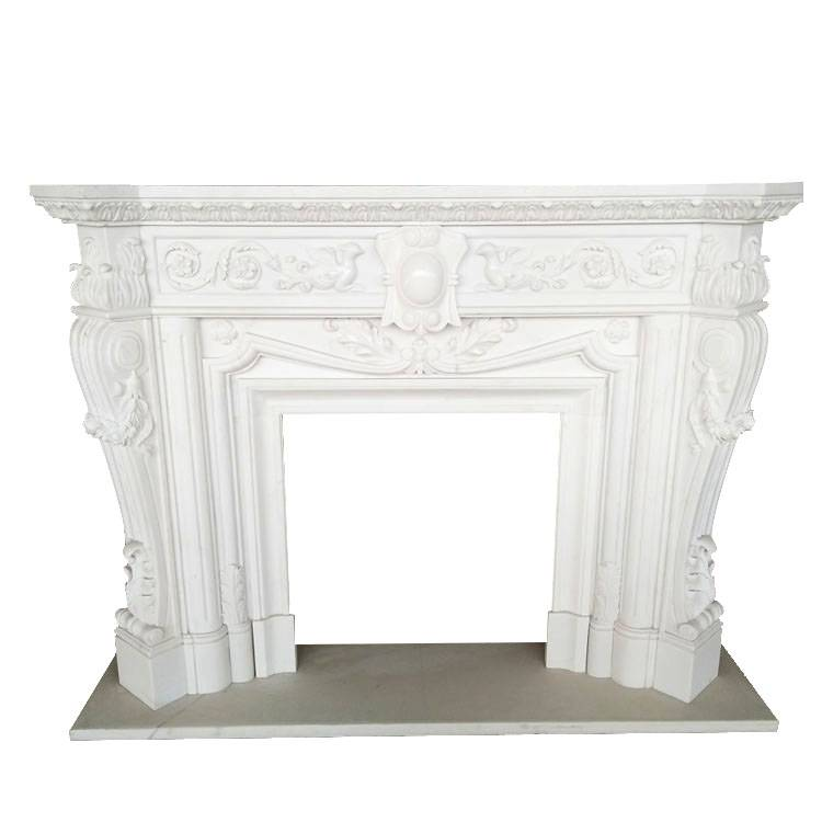 decorative natural quartz stone veneer table top classic marble fireplace design