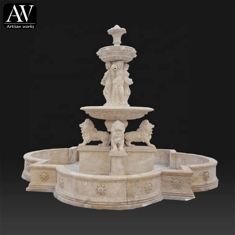 Hot sale marble garden statue outside water fountain