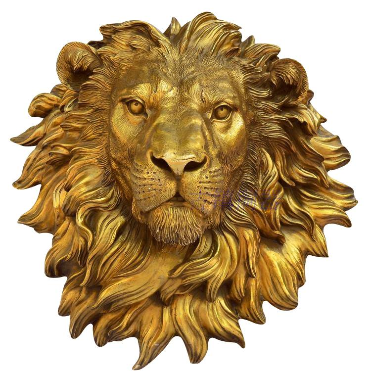 brass decoration artwork garden statue bronze wall fountain lion head sculpture
