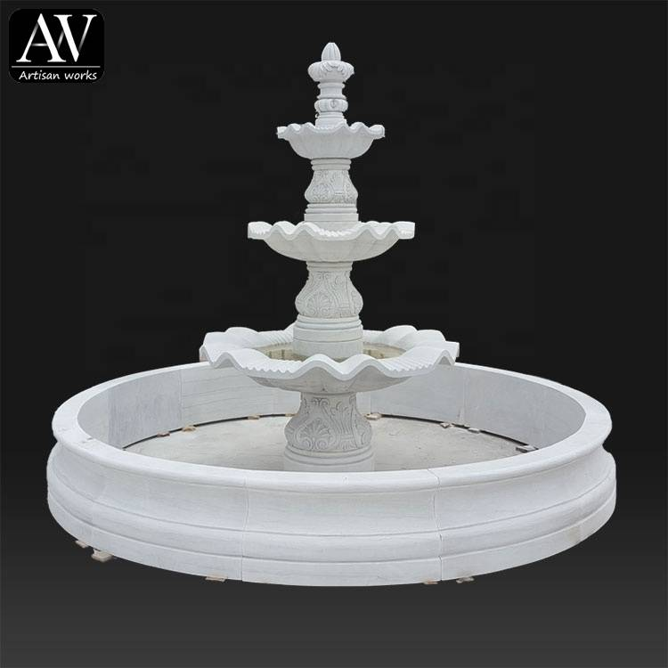 Customized design natural stone white big marble fountains