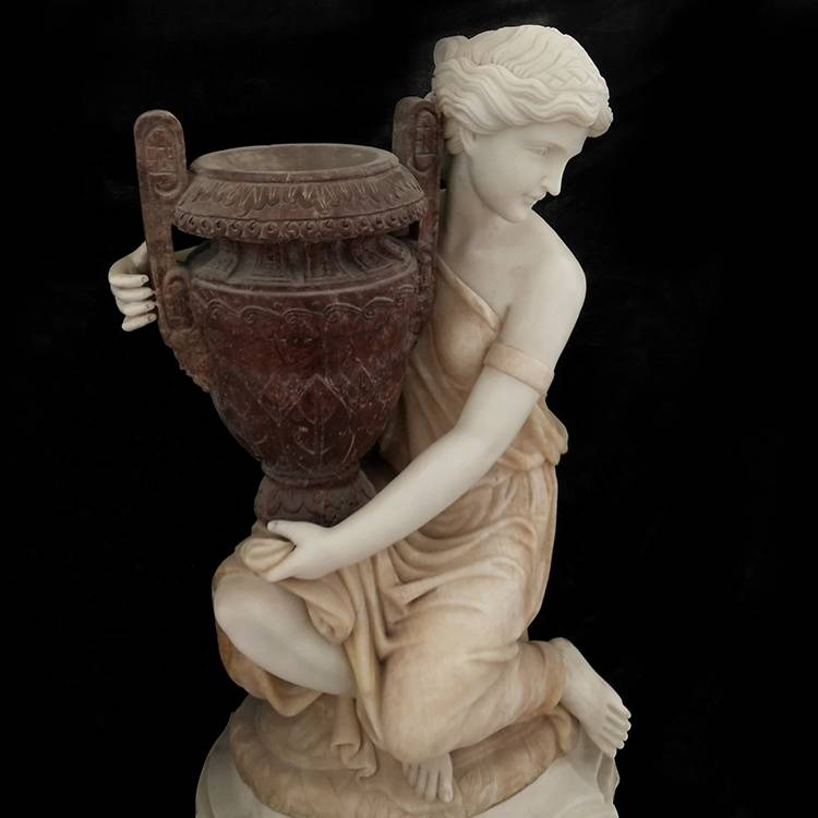 New design outdoor famous hold flower pot marble women statue