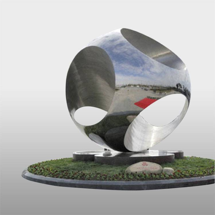 Modern mirror polished music square stainless steel sculptures handiwork globe sculpture