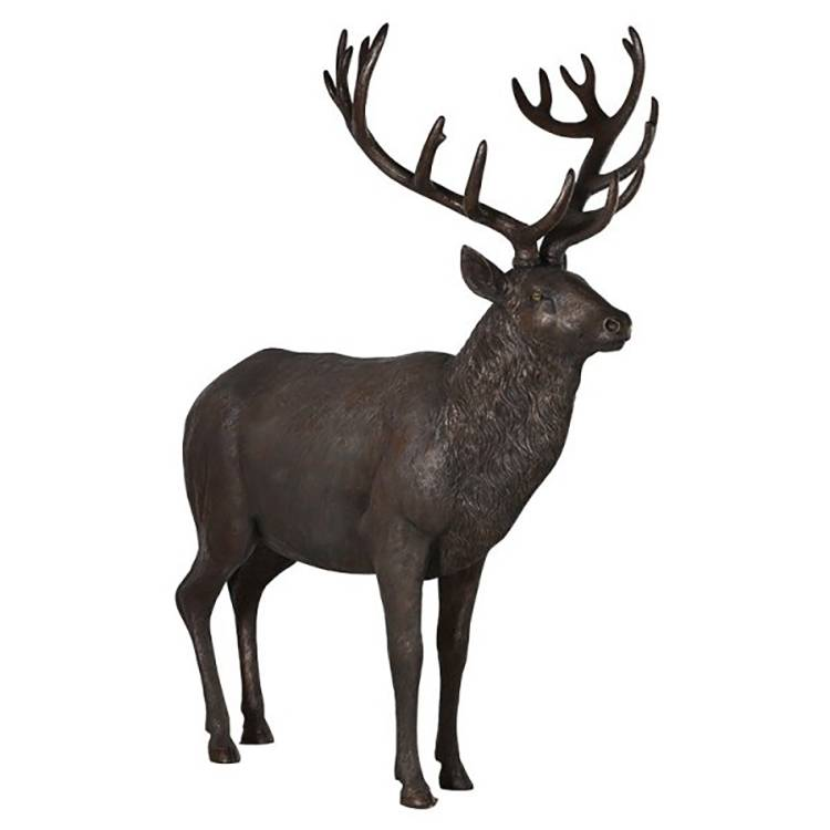 Metal sculpture outdoor large decor modern life-size brass animal reindeer statue