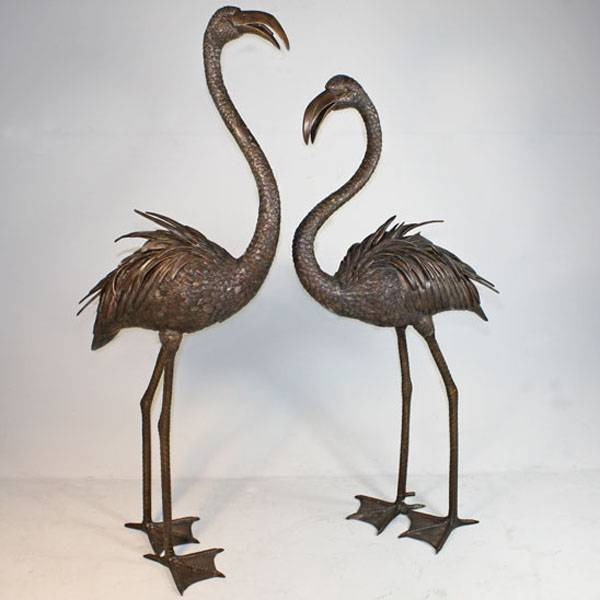 decorative african bronze bird sculpture flamingo