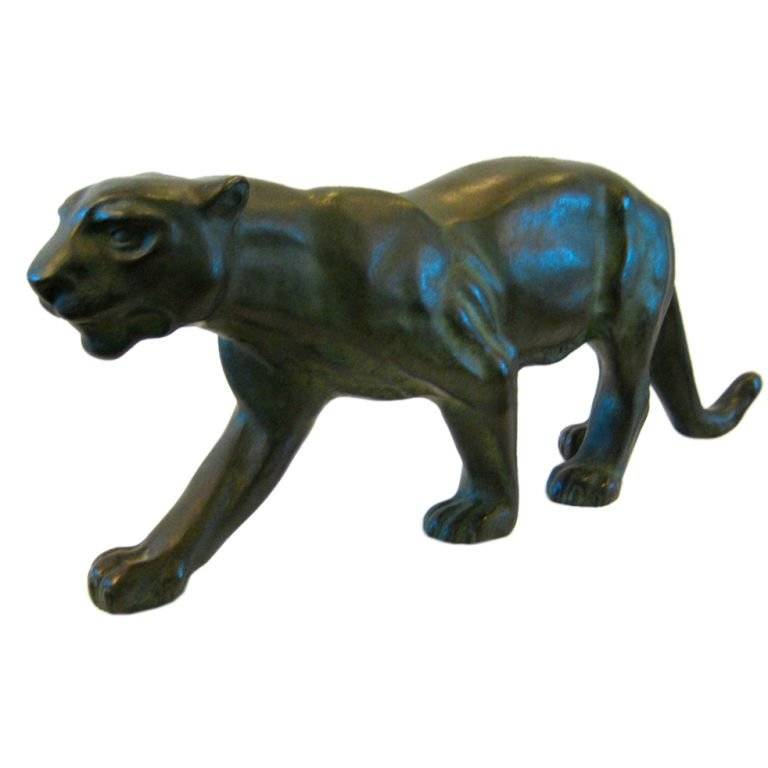 Animal statue outdoor large decoration modern bronze and brass leopard statue