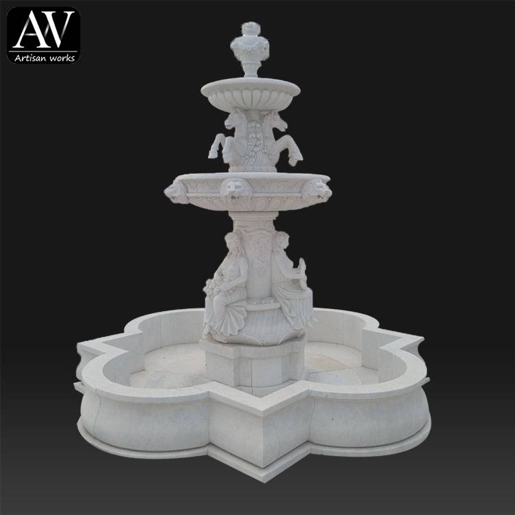 garden outdoor home decor antique granite chocolate marble stone water fountain