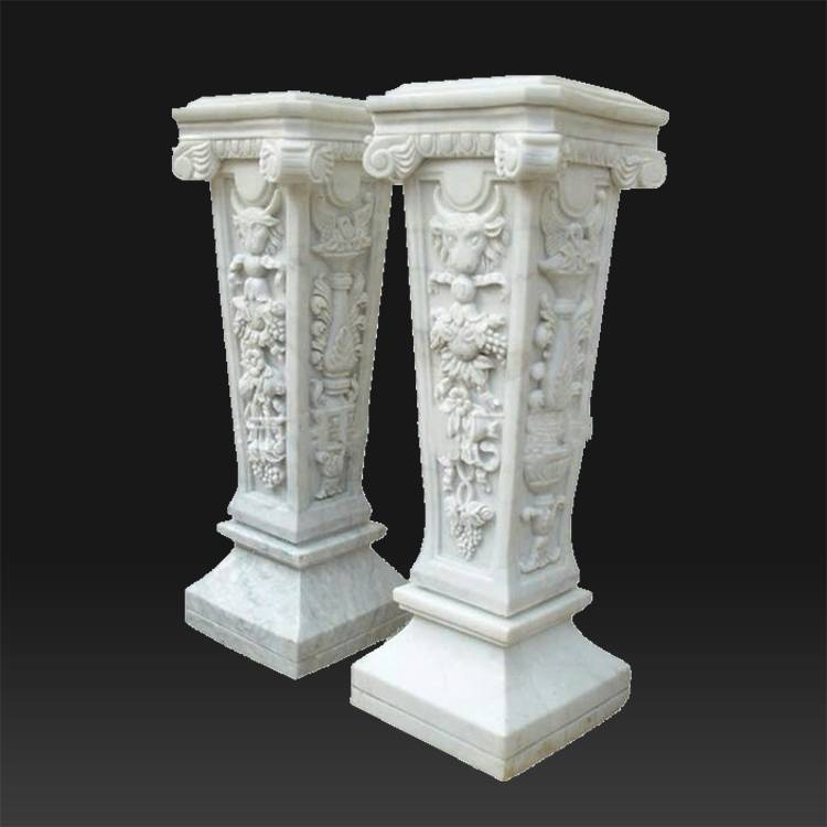 Indoor and outdoor square decoration used stone pure white roman pillar  for home