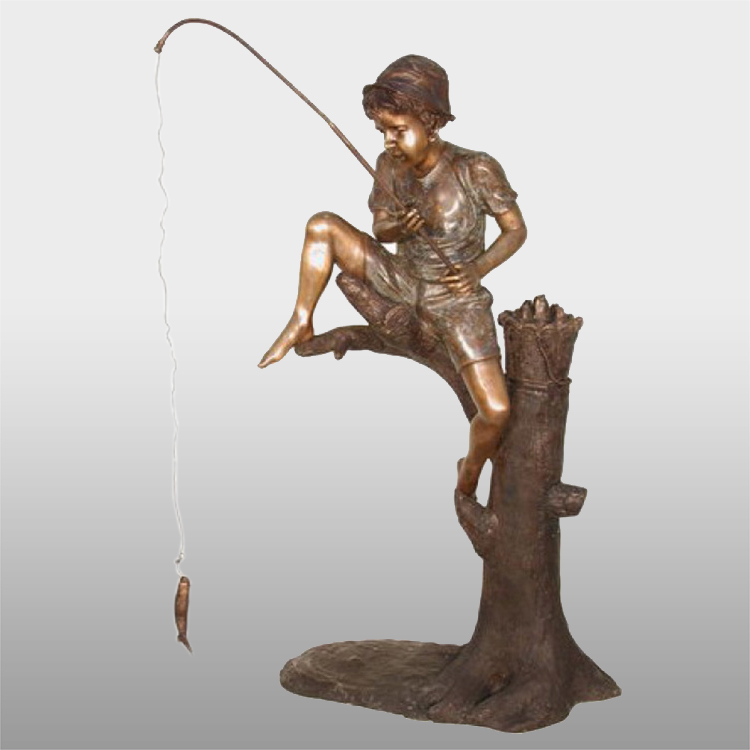 Garden decorative bronze  boy fishing figures  fountain