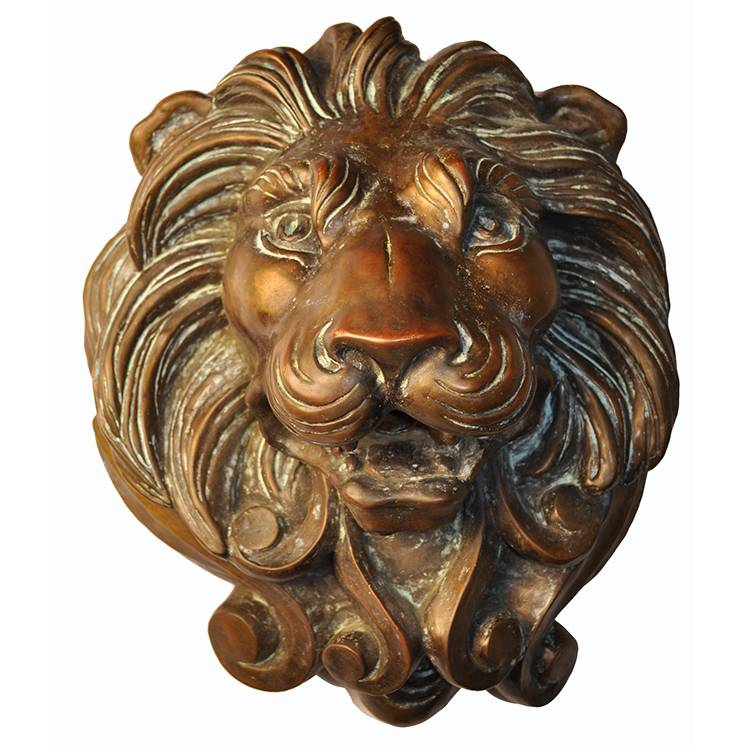 Animal bronze sculpture relief decoration brass lion head statue