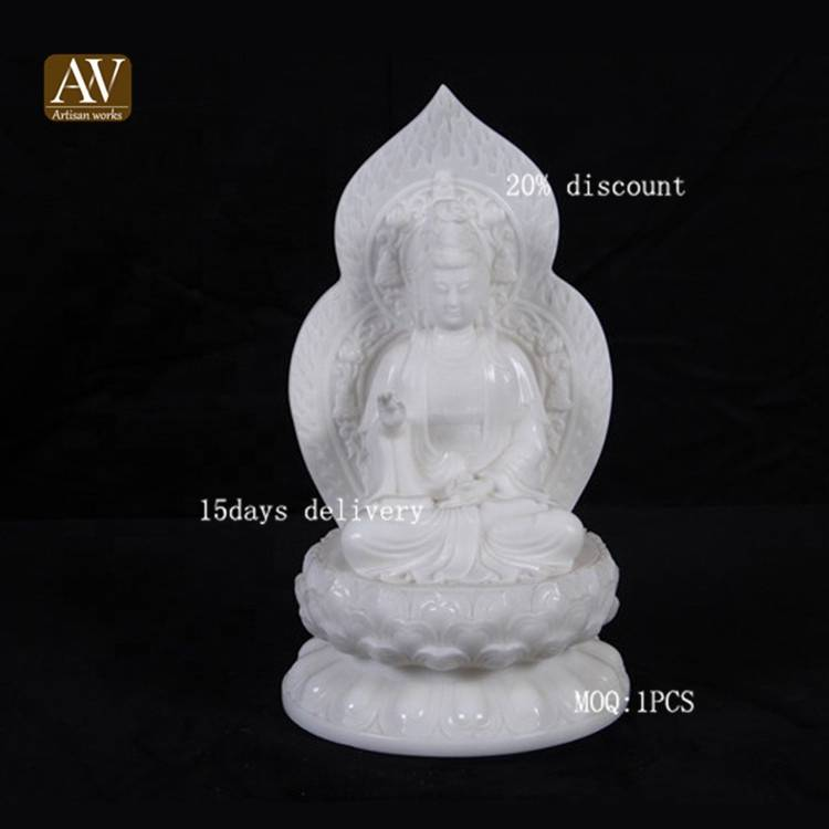 Hot selling white backlight guanyin marble sculpture for sale
