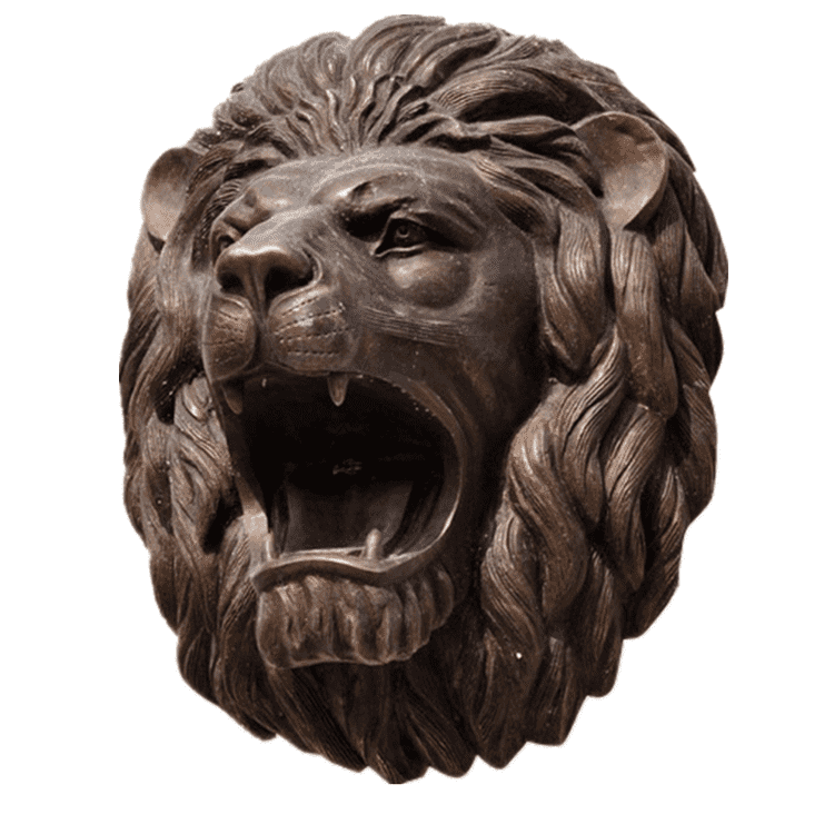 Animal sculpture wall decoration bronze and brass lion head statue for water fountain